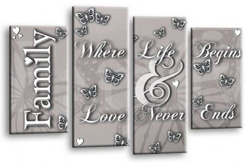 Family Love Quote Powder Grey Canvas Wall Art Picture Print